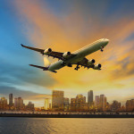 passenger plane flying above urban scene use for convenience air transport and logistic cargo by air transportation